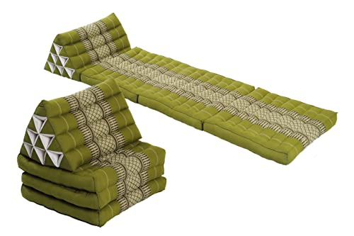 Handelsturm Double Lounge Pack 2X Triangle 3-Fold Mat 67×20 Thai Triangular Pillow Set 100 Kapok Filling Cushion Bamboo Green Floorcushion
