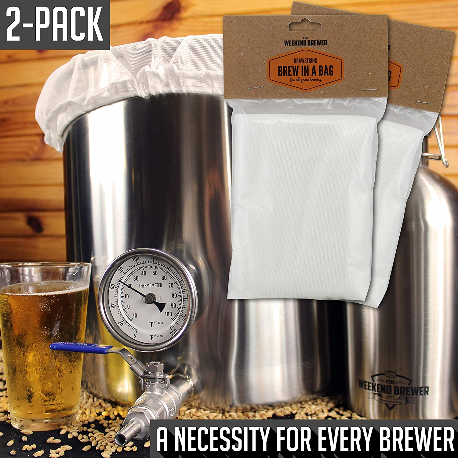 2pk Extra Large 26 x 22 Reusable Drawstring Straining Brew in a Bag