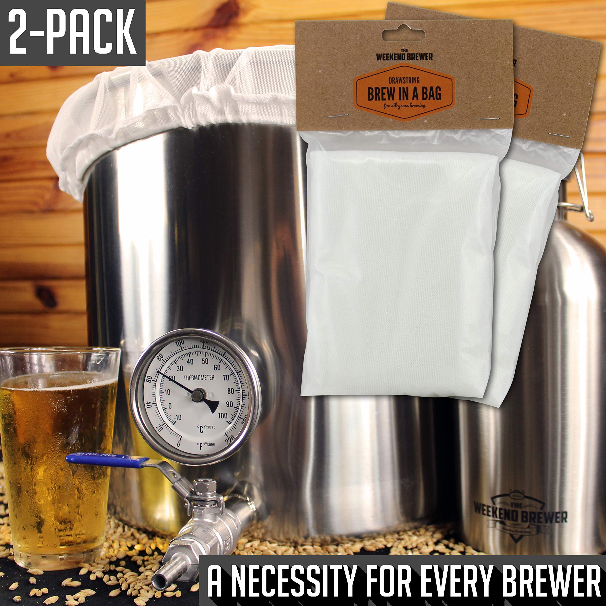 2pk Extra Large (26'' x 22'') Reusable Drawstring Straining Brew in a Bag by The Weekend Brewer (Image #5)