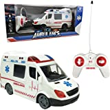 Large RC Remote Control Rescue Ambulance Toy Emergency Vehicle with Opening Doors, Siren and LED Lights