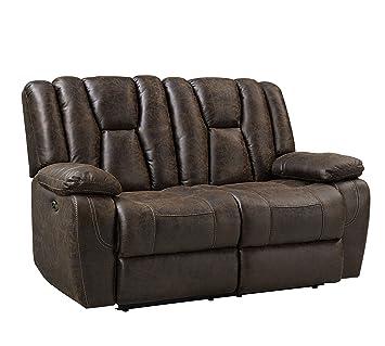 Amazon Com Rainier Buckaroo Brown Color Faux Leather Pillow Top Arm