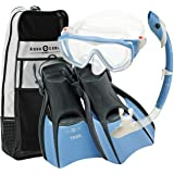 Aqualung Snorkel Set with Sport Diva 1 Lx Mask, Island Dry Snorkel and Trek Fin