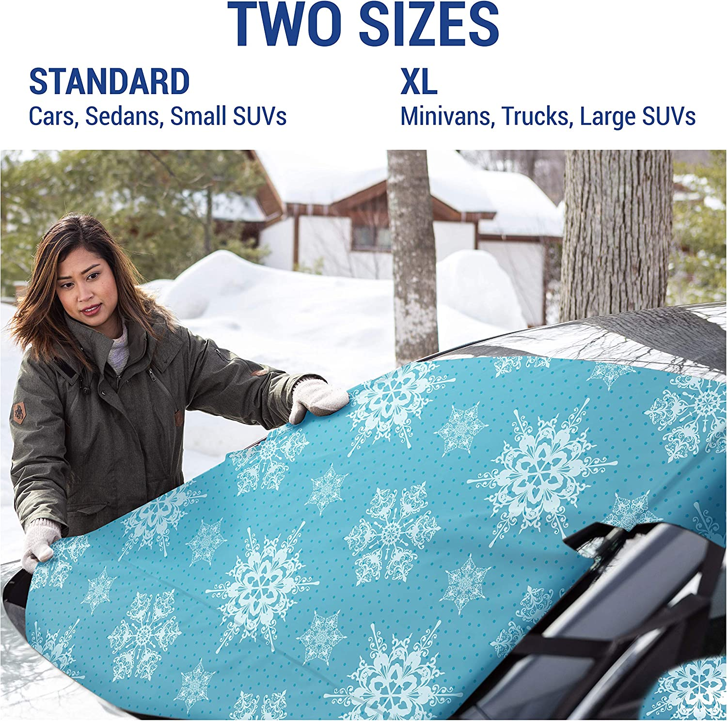 X-Large, Baltic Slate Frostguard Ice and Frost Protects from Snow Premium Winter Windshield Snow Cover with Security Panel and Wiper Cover