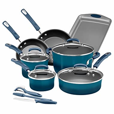Rachael Ray 14 Piece Hard Enamel Nonstick Cookware Set, Marine Blue