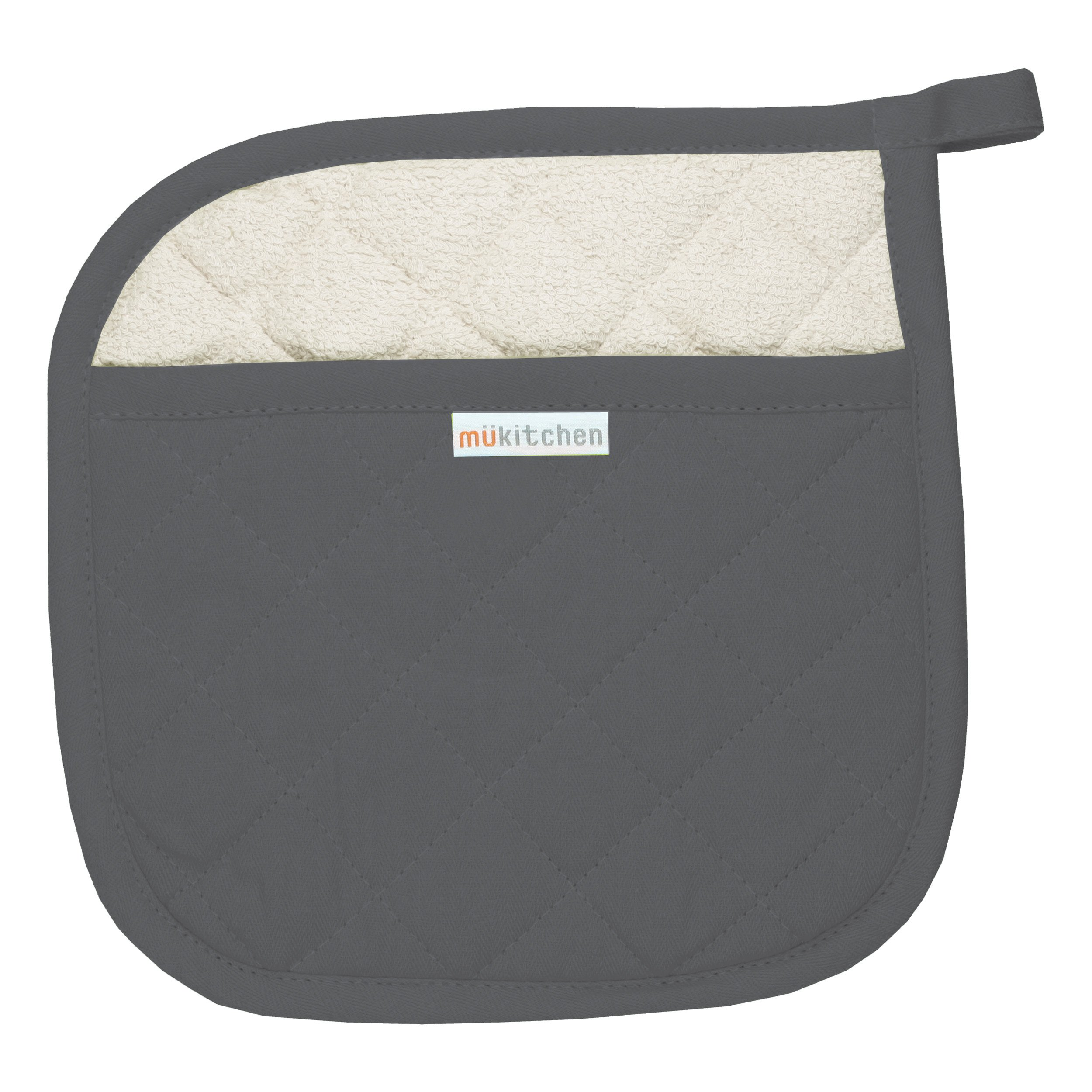 MUkitchen 100% Quilted Cotton Pot Holder, Stainless - Set of 2 by MUkitchen