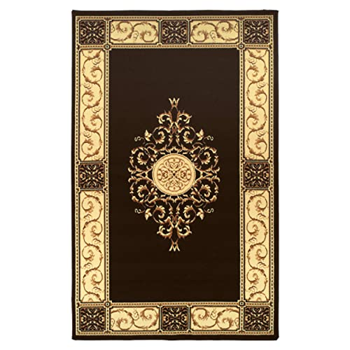 Superior Elegant Medallion Collection 4 x 6 Area Rug, Attractive Rug with Jute Backing, Durable and Beautiful Woven Structure, Floral Medallion Rug with Broad Border – Coffee