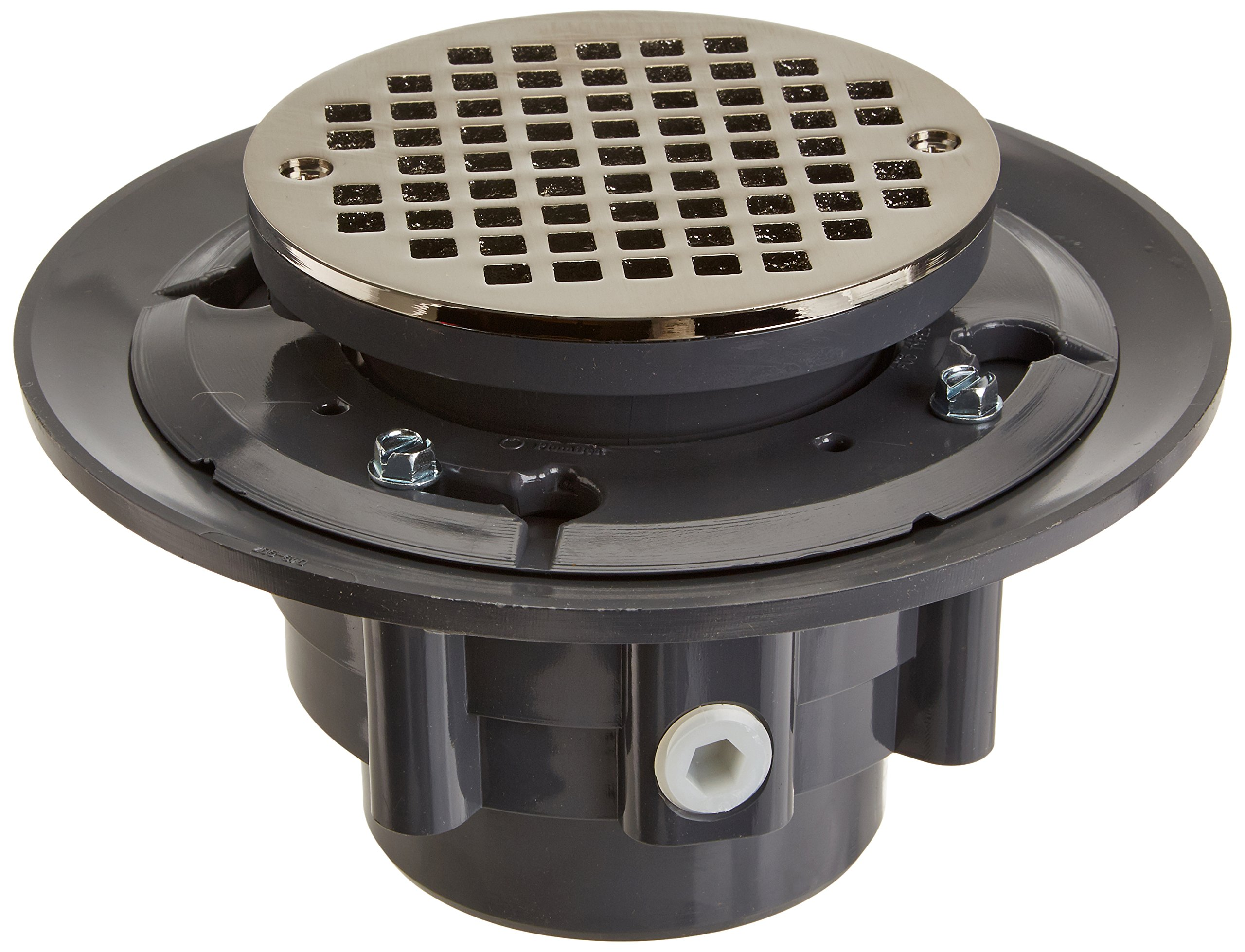 Jones Stephens D4984BN 3X4'' PVC Drain Shower with 5'' Round Brushed Nickel Strainer