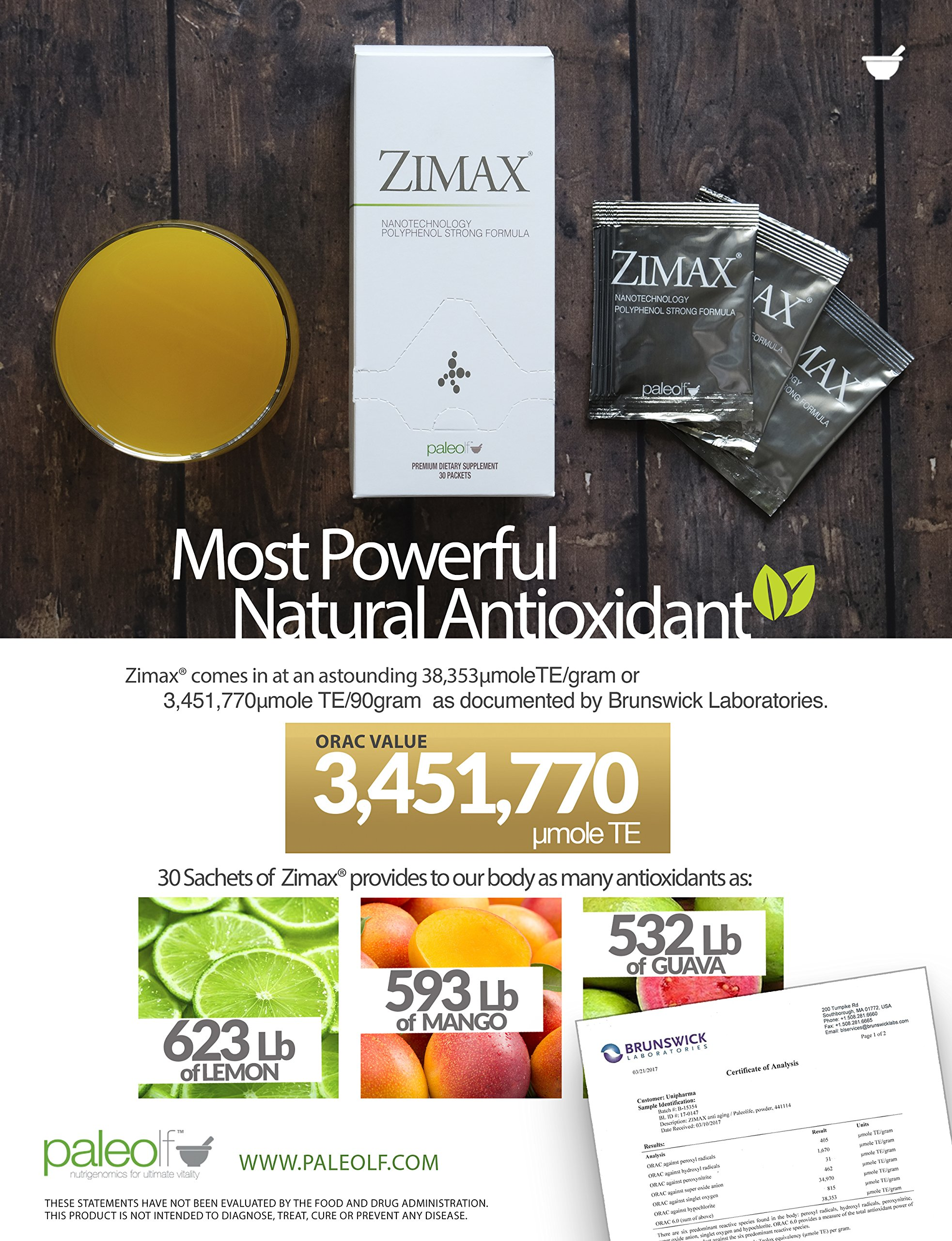 Zimax Super Antioxidant 100% Natural High Absorption Curcumin, Rosemary Extract, Grape Seed Extract, Olive Leaf Extract ORAC 3,451,770 (Sachet) by Paleolf (Image #4)