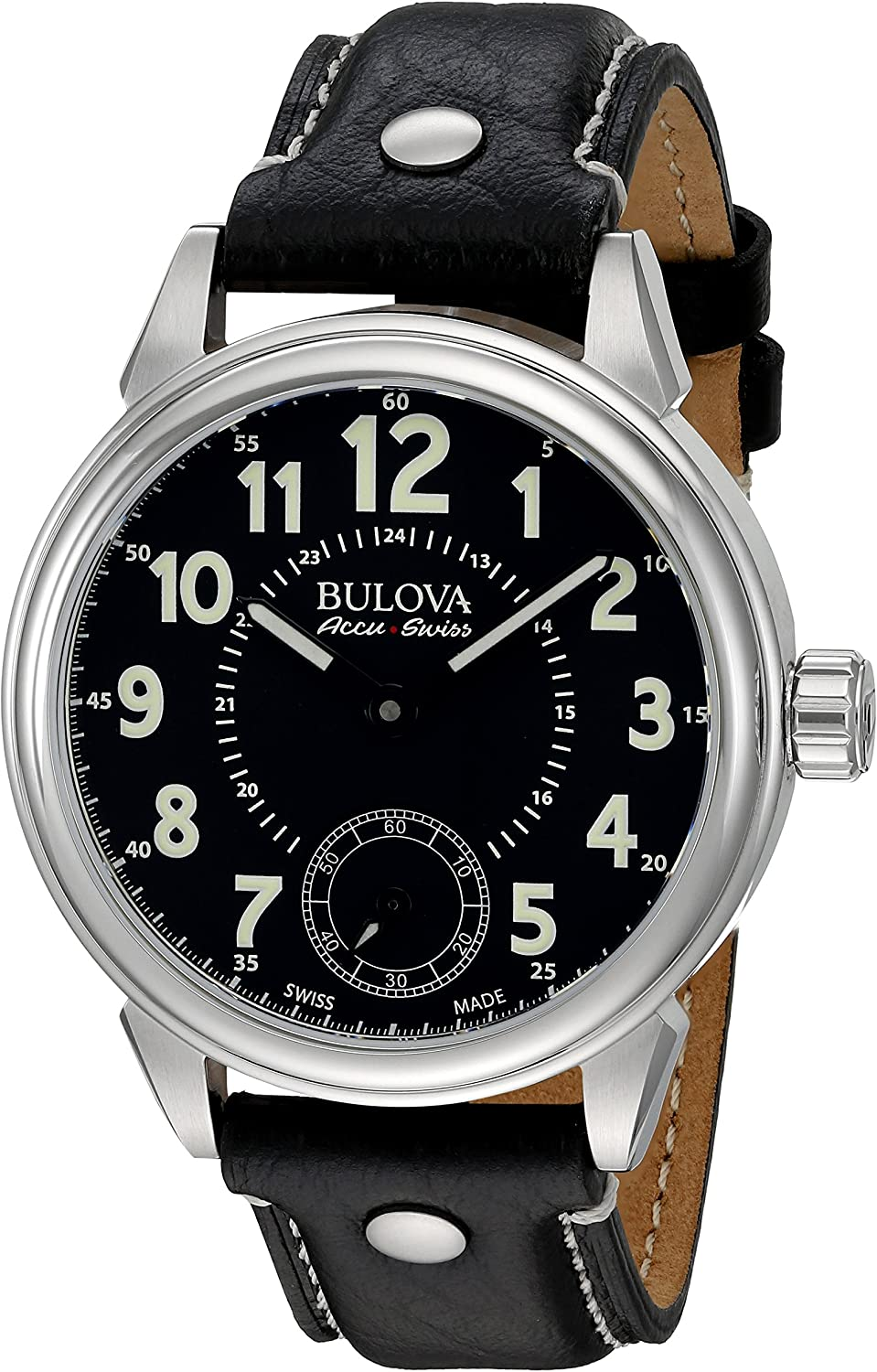 Bulova Men s Gemini Mechanical Hand Wind Stainless Steel and Black Leather Casual Watch Model 63A120
