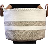 """Cotton Rope Basket for Living Room Blanket Storage - Kids Playroom Storage Organizer - Woven Nursery Laundry Basket for Clothes, Bathroom Towels, Toys - Home Decorations Bins - Extra Large 20""""D x 13""""H"""