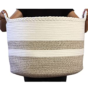 "Cotton Rope Basket for Living Room Blanket Storage - Kids Playroom Storage Organizer - Woven Nursery Laundry Basket for Clothes, Bathroom Towels, Toys - Home Decorations Bins - Extra Large 20""D x 13""H"