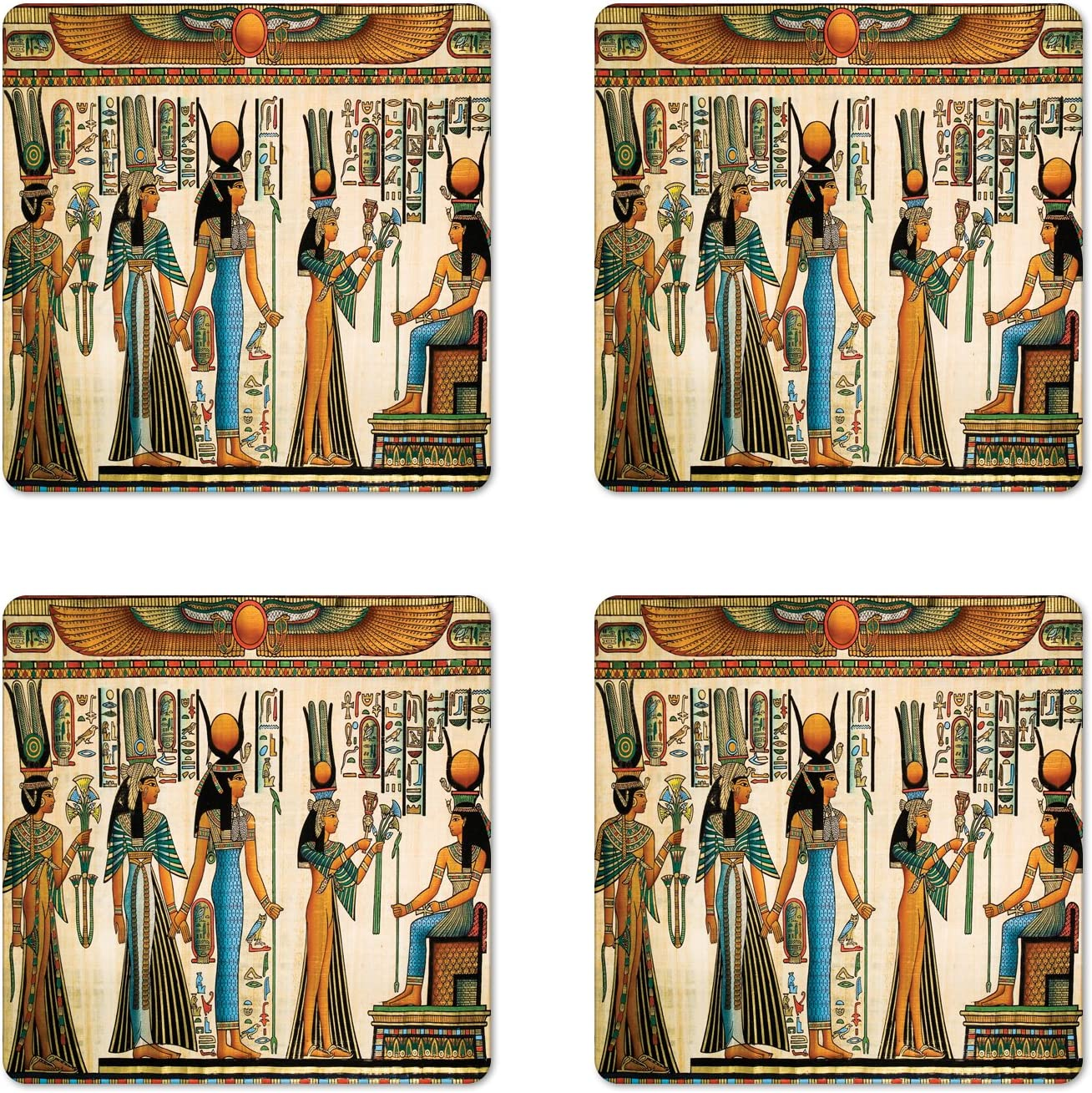 Lunarable Egyptian Print Coaster Set of 4, Egyptian Papyrus Depicting Queen Nefertari Making an Offering to Isis Image, Square Hardboard Gloss Coasters, Standard Size, Teal Orange