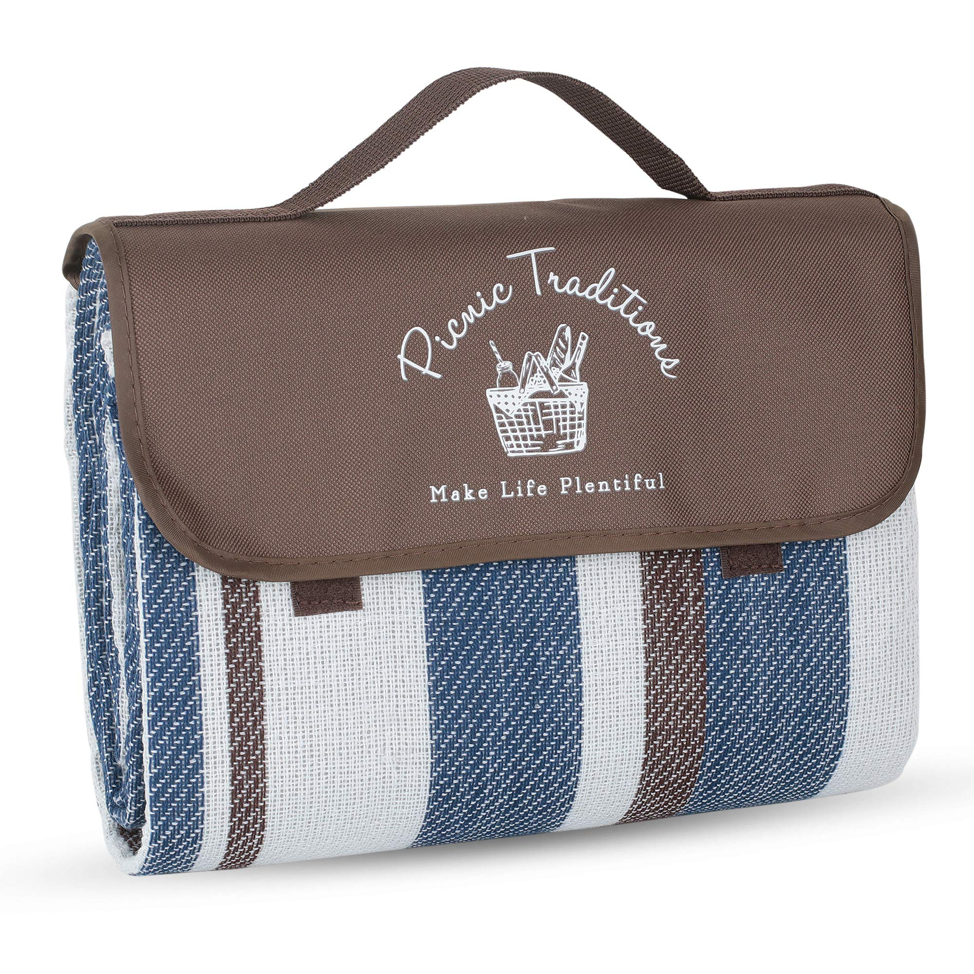 Picnic Traditions Large Picnic Blanket Water Resistant Tote - Great for Picnics, Camping on Grass, at The Beach, Tailgating at Stadiums, Durable Mat has Waterproof PEVA Backing - 69 x 53 in. (Brown)