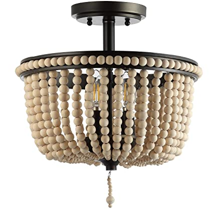 Jonathan Y Jyl9020a Allie 14 Wood Beaded Metal Flush Mount Black