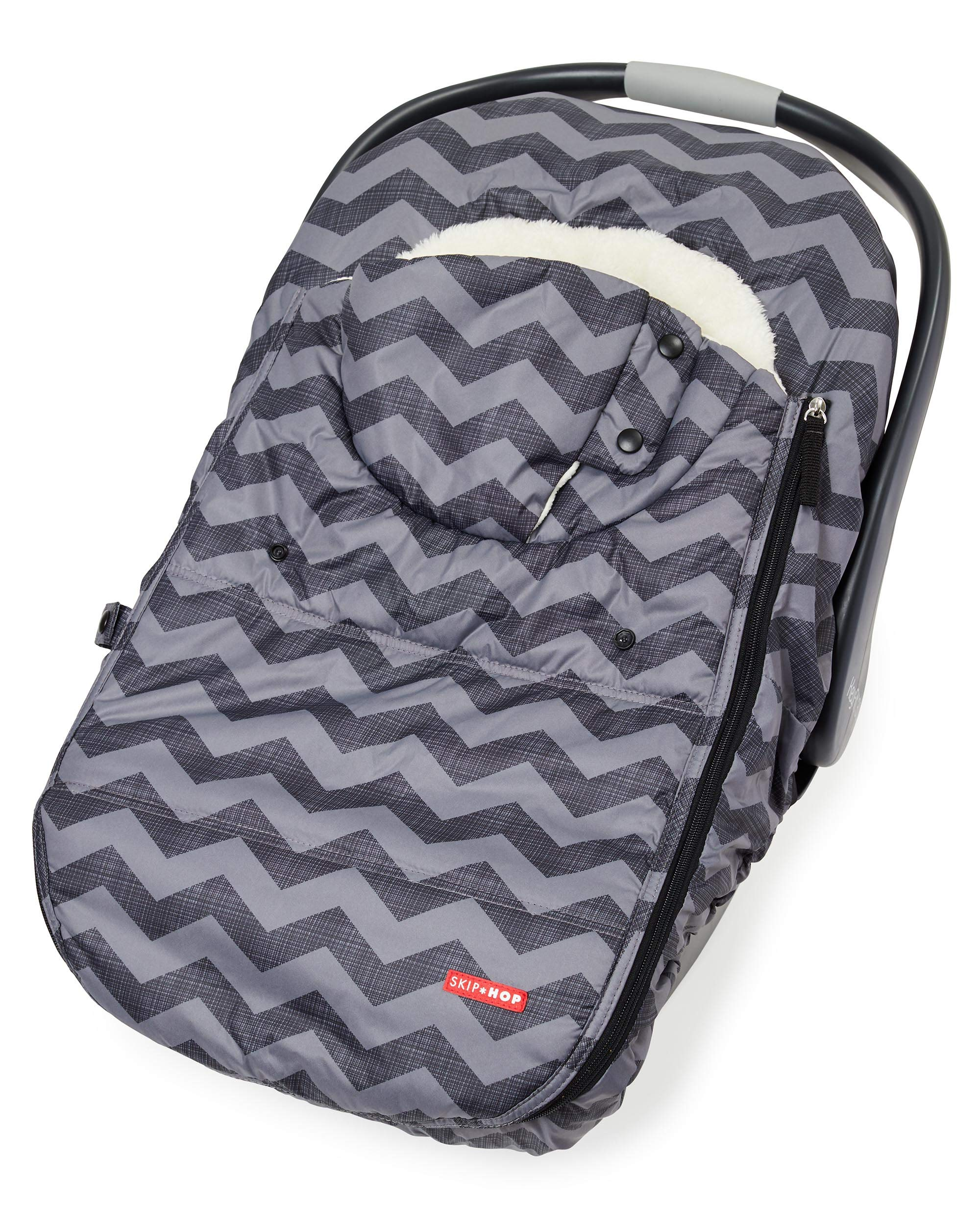 Skip Hop Stroll & Go Infant & Toddler Automotive Car Seat Cover Bunting Accessories, Universal Fit, Tonal Chevron, Black Chevron by Skip Hop (Image #5)