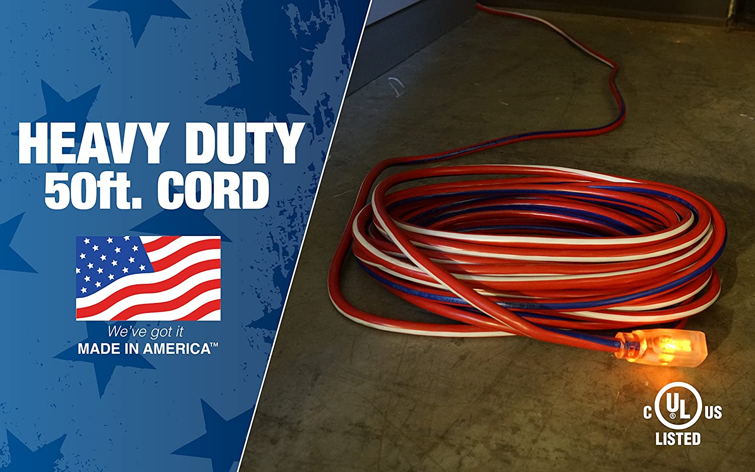 Southwire 02548 Usa1 50 Foot Contractor Grade 12 3 With Lighted End Cable Wiring American Made Extension Cord