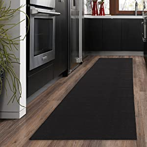 "Ottomanson Ottohome Collection Solid Design Hallway Kitchen Runner Rug (Non-Slip) Rubber Backing Area Rug, 20"" X 59"", Black"