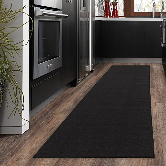 "Ottomanson Ottohome Collection Solid Design Hallway Kitchen Runner Rug (Non-Slip) Rubber Backing Area Rug, 20"" X 59"", Black"