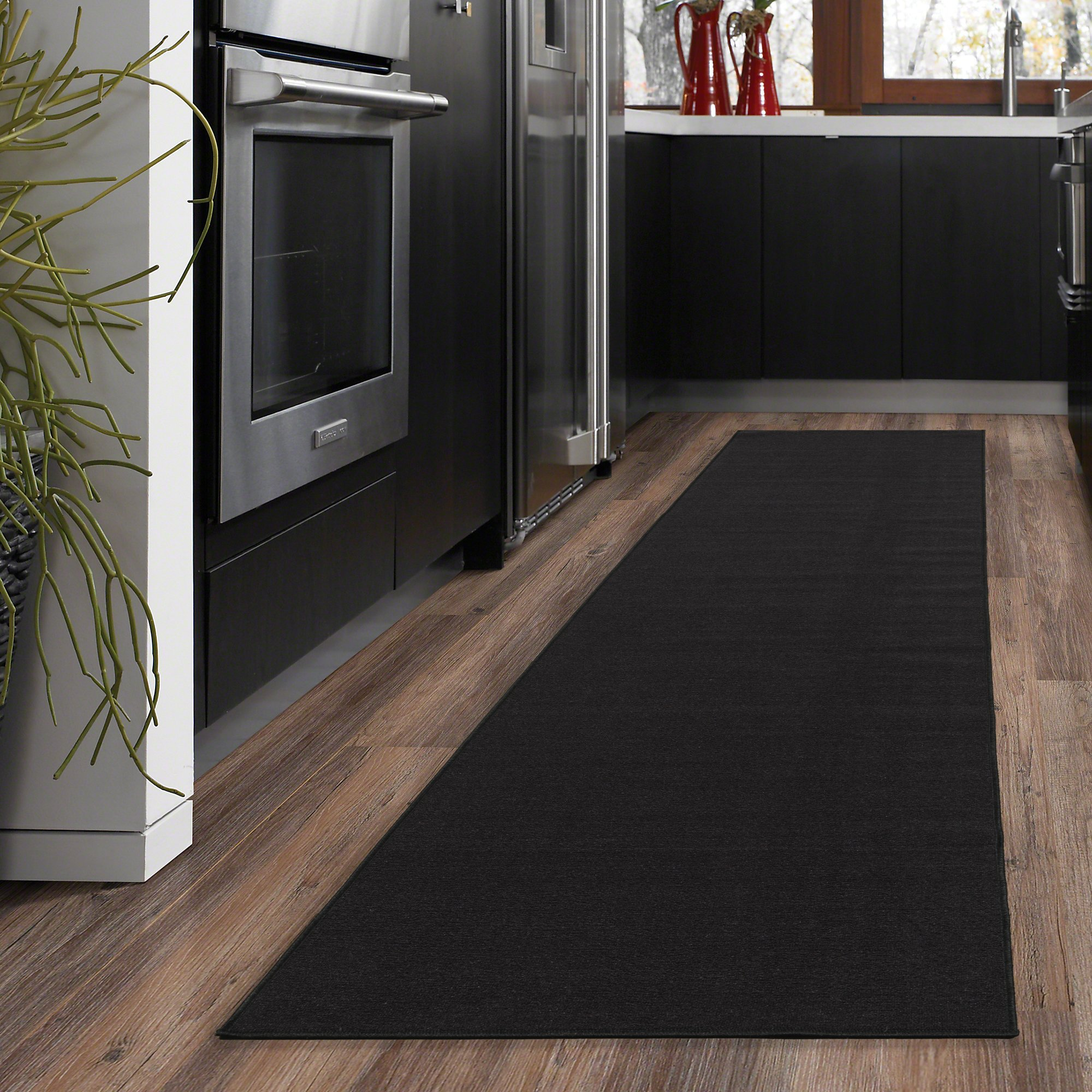 Ottomanson Ottohome Collection Solid Design Hallway Kitchen Runner Rug (Non-Slip) Rubber Backing Area Rug, 20'' X 59'', Black