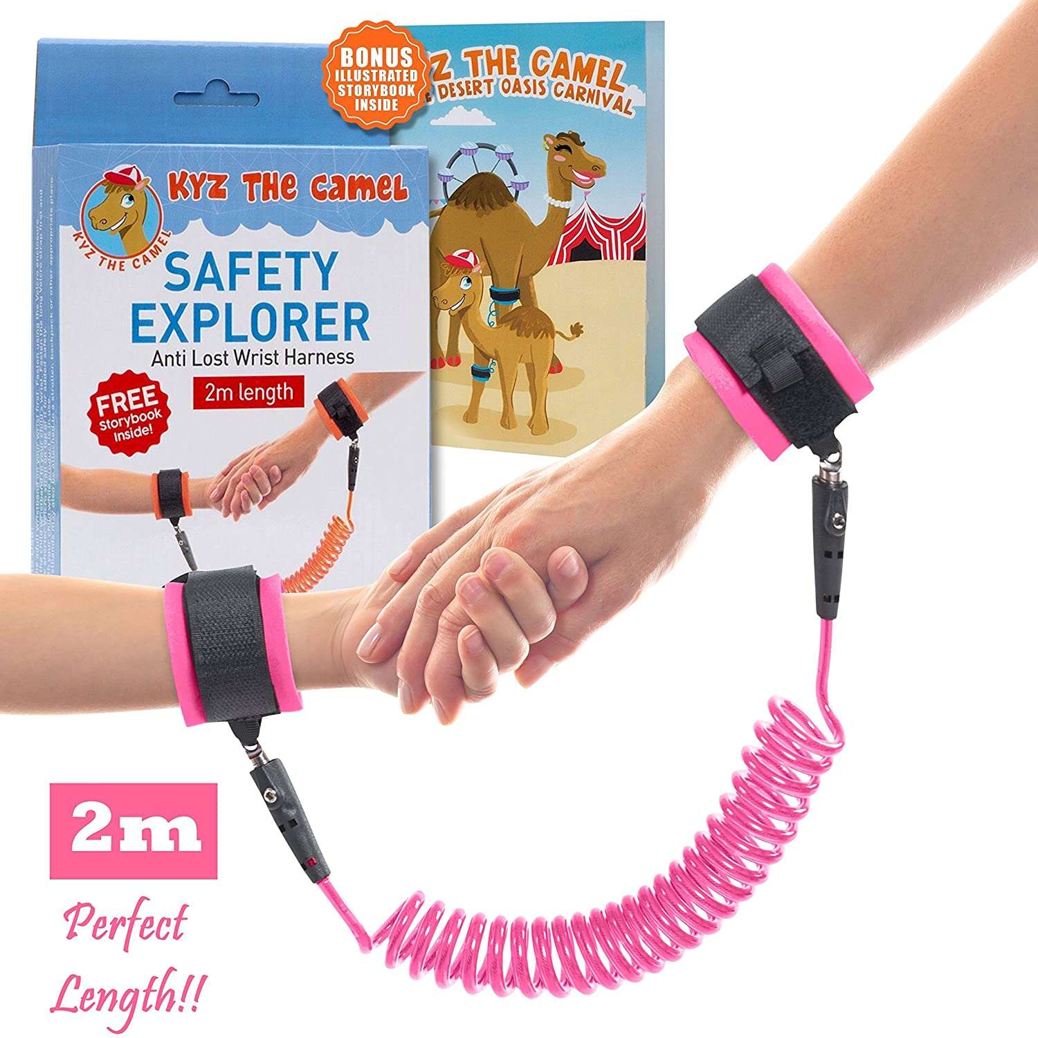 NimbusKids Toddler Leash Child Anti Lost Harness Wrist Link: With Double Velcro Wrist band and No-Cut Chain for Maximum Security – Comfy Wrist Straps Rotate 360 – Keep Kids Nearby – 2m Length – Baby Safety