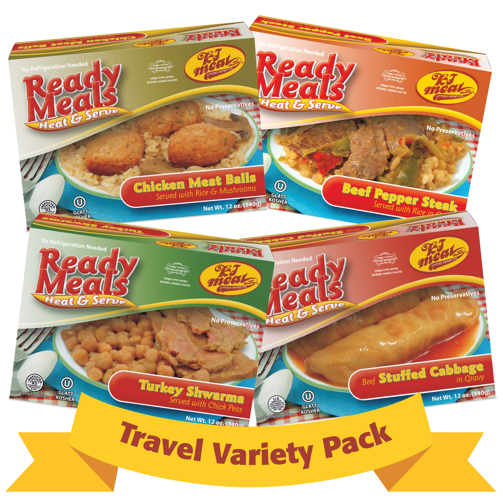 Kosher Meals Ready to Eat Travel Variety Pack, Beef Stuffed Cabbage, Beef Pepper Steak, Turkey Shawarma, Chicken Meatballs (Microwavable, Shelf Stable) Dairy Free - Glatt Kosher (12 ounce - Pack of 4) by KJ Poultry