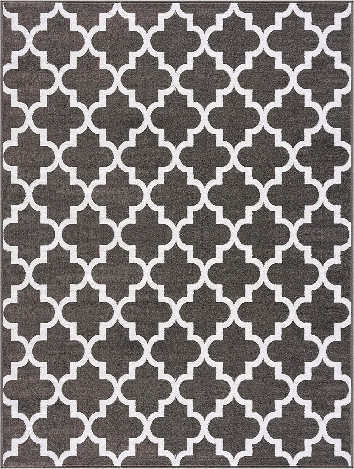 MSRUGS Trellis Collection Contemporary Soft Cozy and Vibrant 8 ft. by 10 ft. Dark Gray Area Rug
