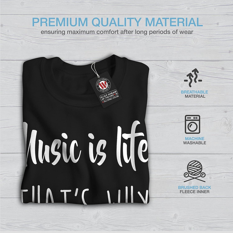 wellcoda Music is Life Beat Mens Sweatshirt Wisdom Casual Jumper