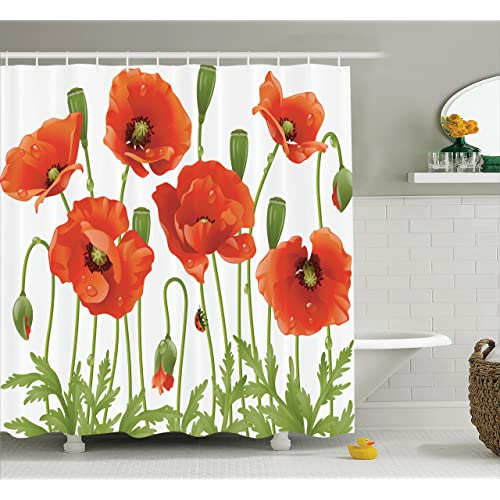 Ambesonne Poppy Decor Collection Spring Wildflower Ladybug Leaf Springtime Garden Backyard Image Pattern