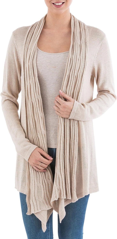 NOVICA Beige 10/% Alpaca Wool Long Sleeves Cardigan Sweater Waterfall Dream