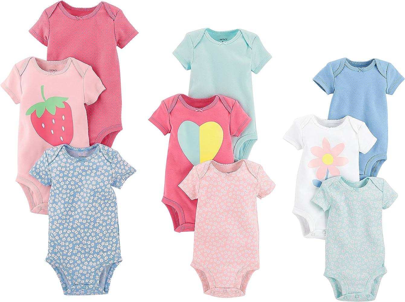 Amazon Com Carter S Baby Girls 9 Pack Grow With Me Bodysuit Set