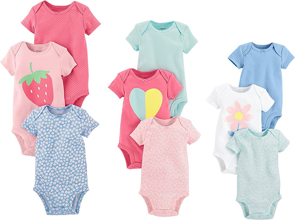 ab92f9baf Carter's Baby Girls' 9-Pack Grow with Me Bodysuit Set, Flower Heart NB