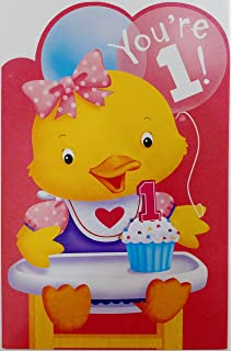 Youre 1 Happy 1st Birthday Greeting Card For Girl Her