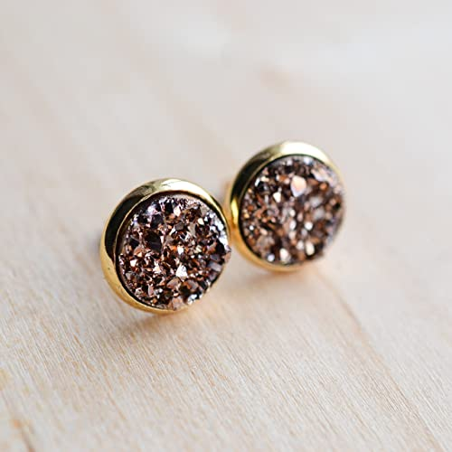 9078f027f Image Unavailable. Image not available for. Color: Rose Gold Druzy Stud  Earrings