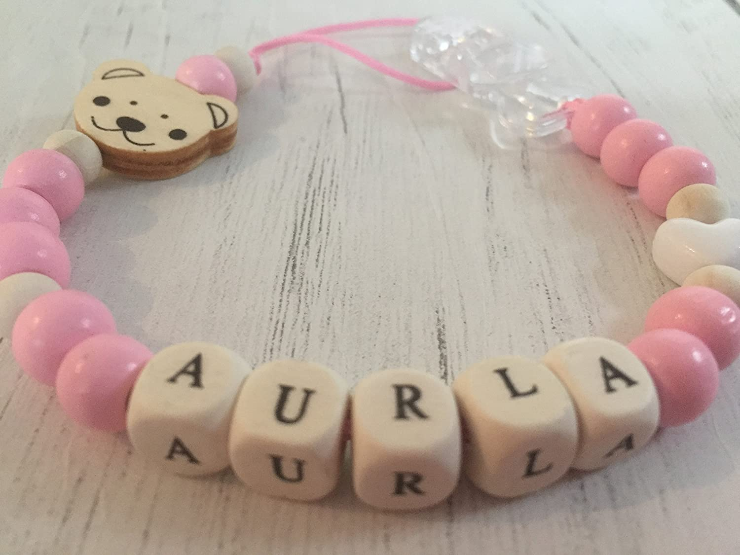 Baby Dummy Clip, Pacifier Holder, Soother Chain, Pink, Natural, White, White Heart, Flat Teddy Head, Maxiumum 8 Wooden Letters, Flat Teddy Head, Handmade from The U.K. Peace & Quiet
