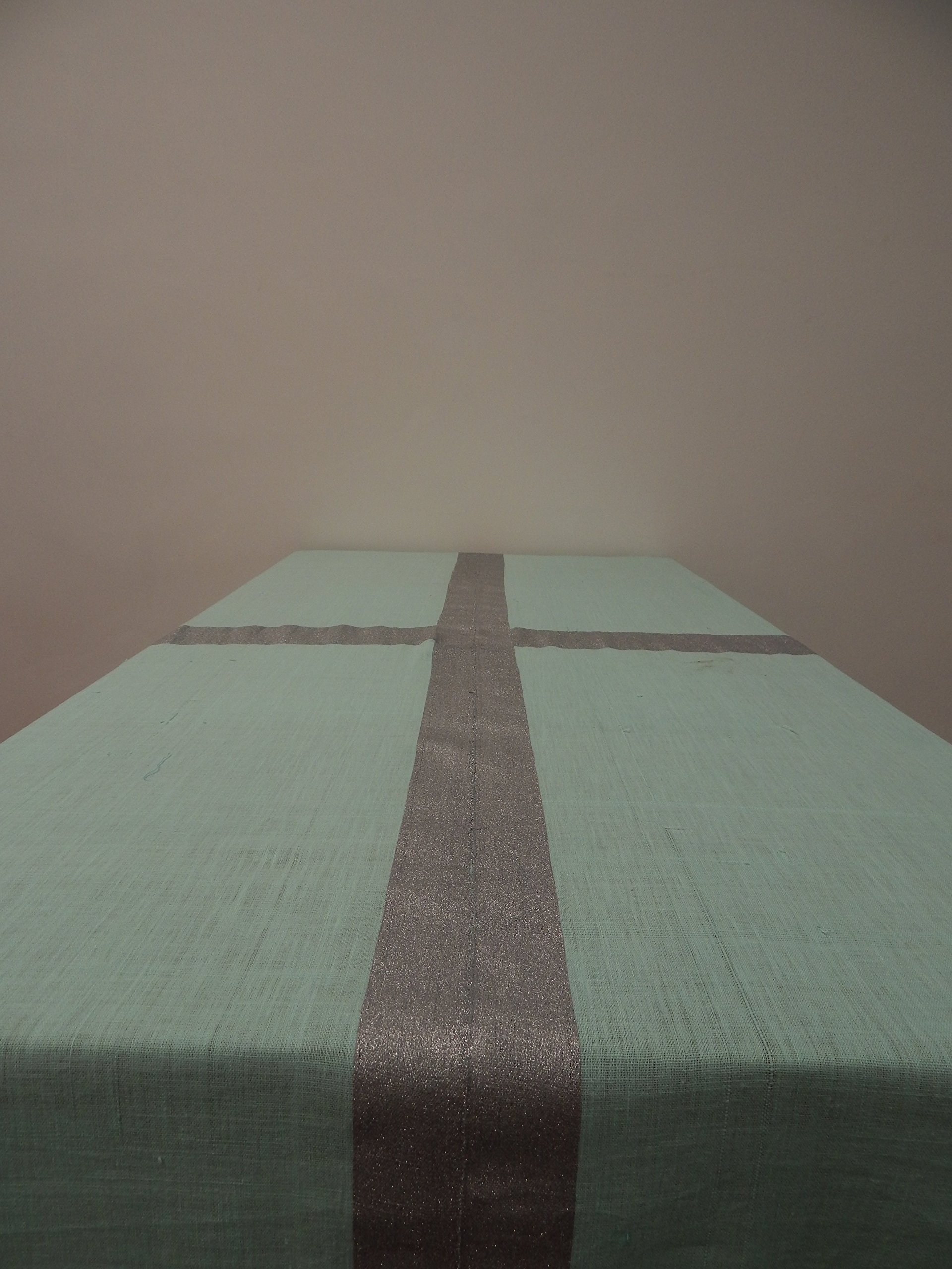 Gitika Goyal Home Cotton Khadi Silver Screen Printed Tablecloth with Border Design, Blue, 72'' x 72''