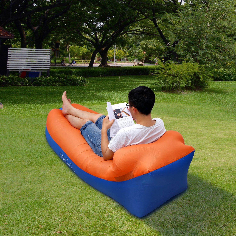 Perfecto para viajar acampar Piscina y fiestas de playa Sof/á de silla de bolsa de aire impermeable Orange-Blu Sof/á inflable Inflado r/ápido por viento o bomba de aire Senderismo Sof/á de aire Lazy Hangout Sof/á cama