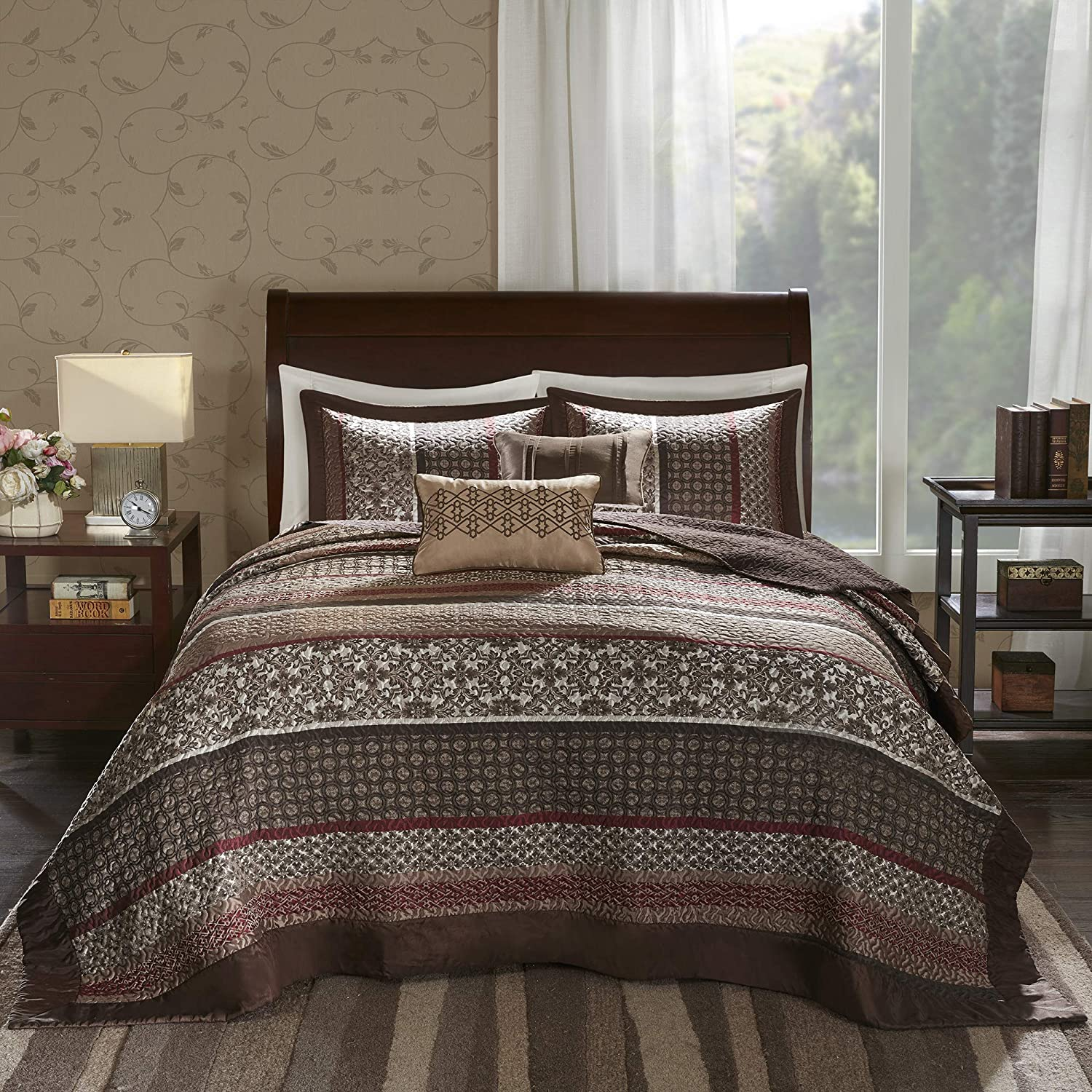 Madison Park Princeton Queen Size Quilt Bedding Set - Crimson Red, Jacquard Patterned Striped