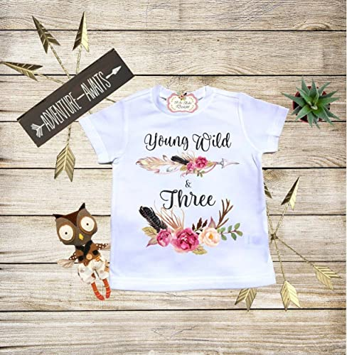 Young Wild And Three Boho Baby Clothes Third Birthday Shirt Personalized Bodysuit Toddler T Shower Gift Custom Infant