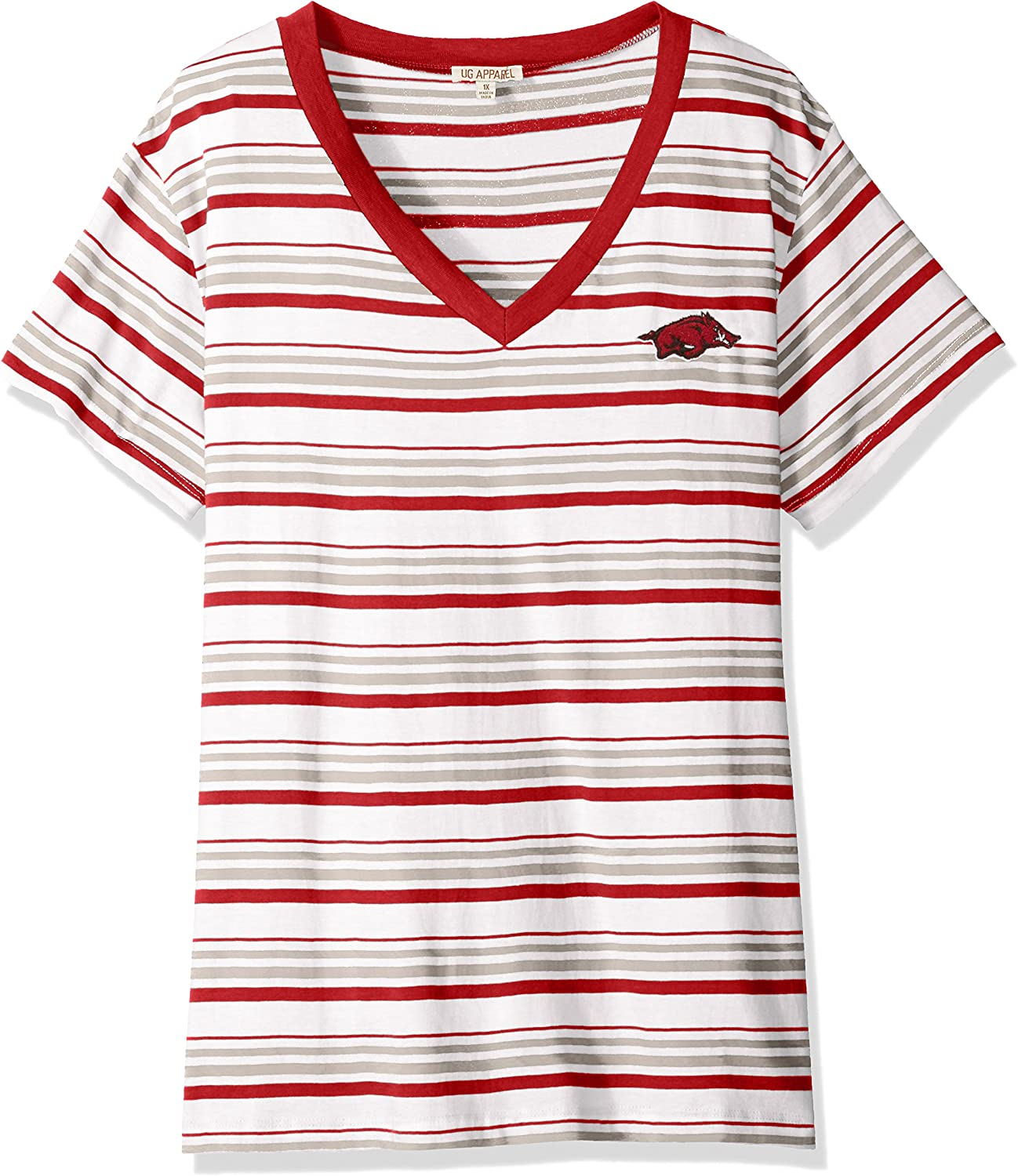 Shipping included UG Apparel NCAA Women's Popular popular Striped T-Shirt Tailgate
