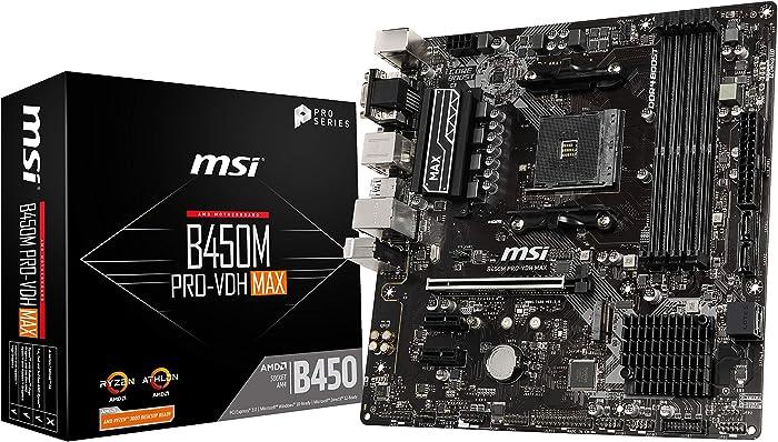 MSI ProSeries AMD Ryzen 2ND and 3rd Gen AM4 M.2 USB 3 DDR4 D-Sub DVI HDMI Micro-ATX Motherboard (B450M PRO-VDH Max)