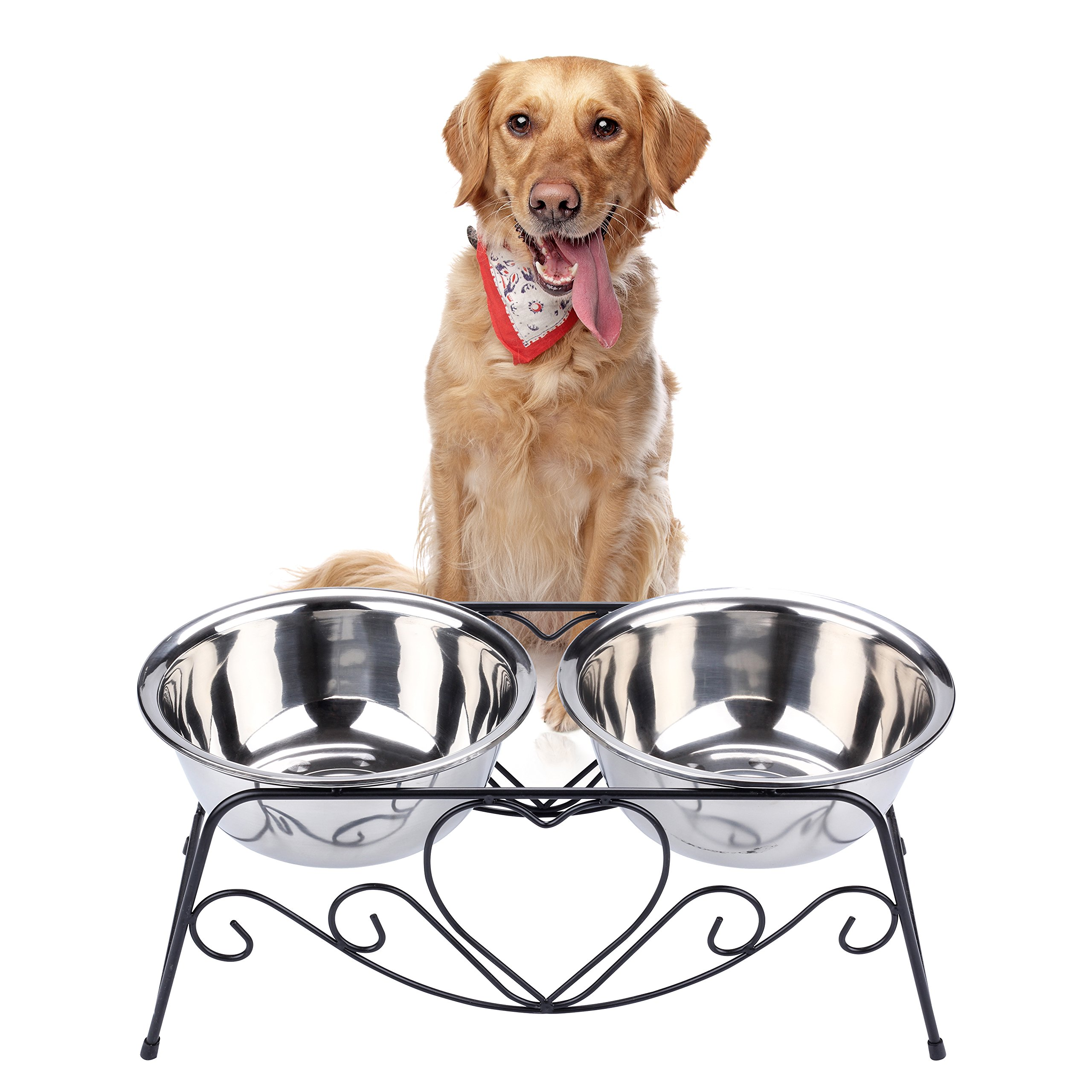 VIVIKO Pet Feeder for Dog Cat, Stainless Steel Food and Water Bowls with Iron Stand (Large)