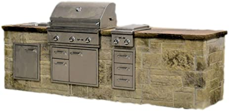 Outdoor Kitchen Island Kit   Delta Straight 10 Foot
