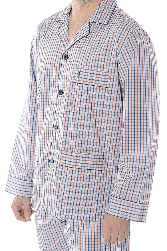 El Búho Nocturno Pijama de Caballero Largo clásico a Cuadros/Ropa de Dormir para Hombre - Tela Popelín, 100% algodón - Color Naranja, Azul Marino y Blanco: ...
