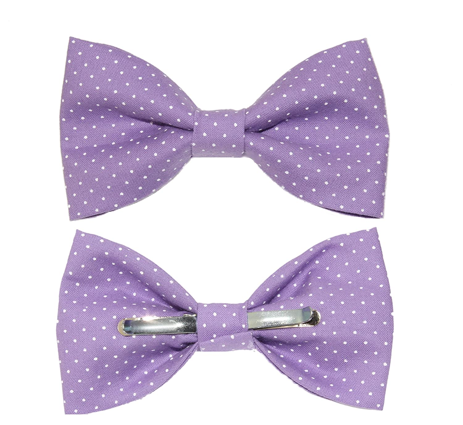 67a25a33554f Men's Purple With Small White Dots Clip On Cotton Bow Tie Bowtie by  amy2004marie at Amazon Men's Clothing store: