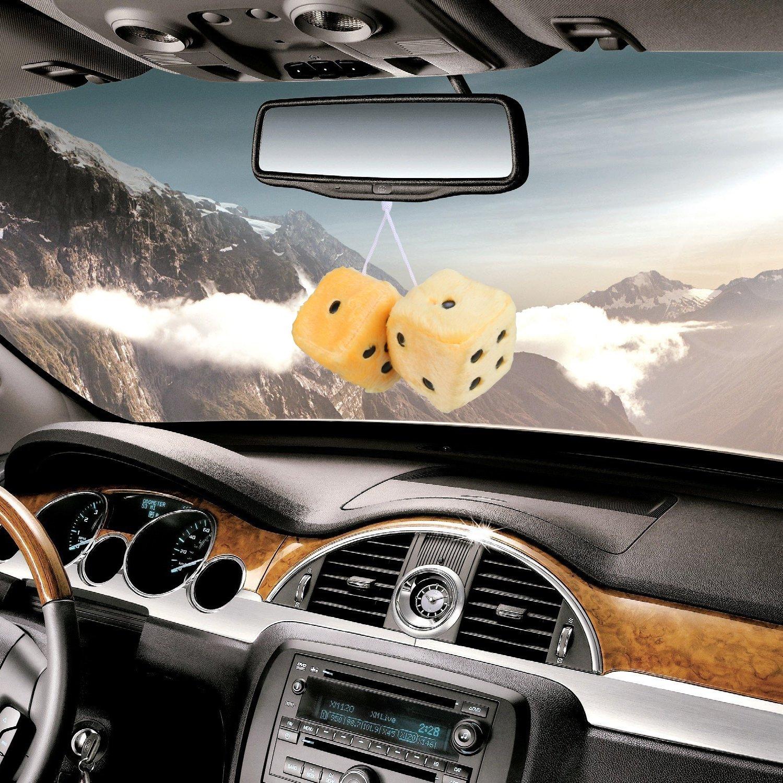 3 pouces Paire de d/és suspendus de miroir carr/é r/étro d/és de peluche floue de couple avec des points pour la d/écoration int/érieure dornement de voiture Accessoires int/érieurs de voiture