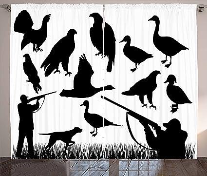 Decoración cortinas de caza por Ambesonne, siluetas de animales ...