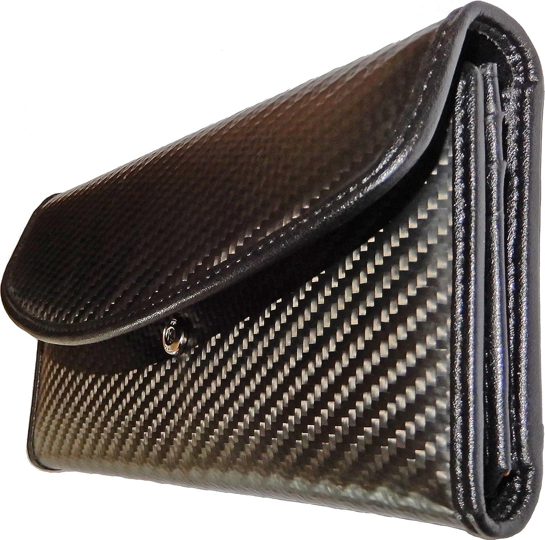 Cartera de carbono Klixxo para mujeres | La billetera con clase y elegante de fibra de carbono y en cuero co