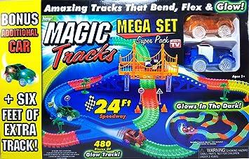 Amazon Com Magic Tracks Mega Set Super Pack With Three Cars And 24