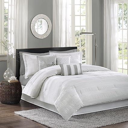 83b8ca859985 Madison Park Hampton King Size Bed Comforter Set Bed in A Bag - White,  Jacquard