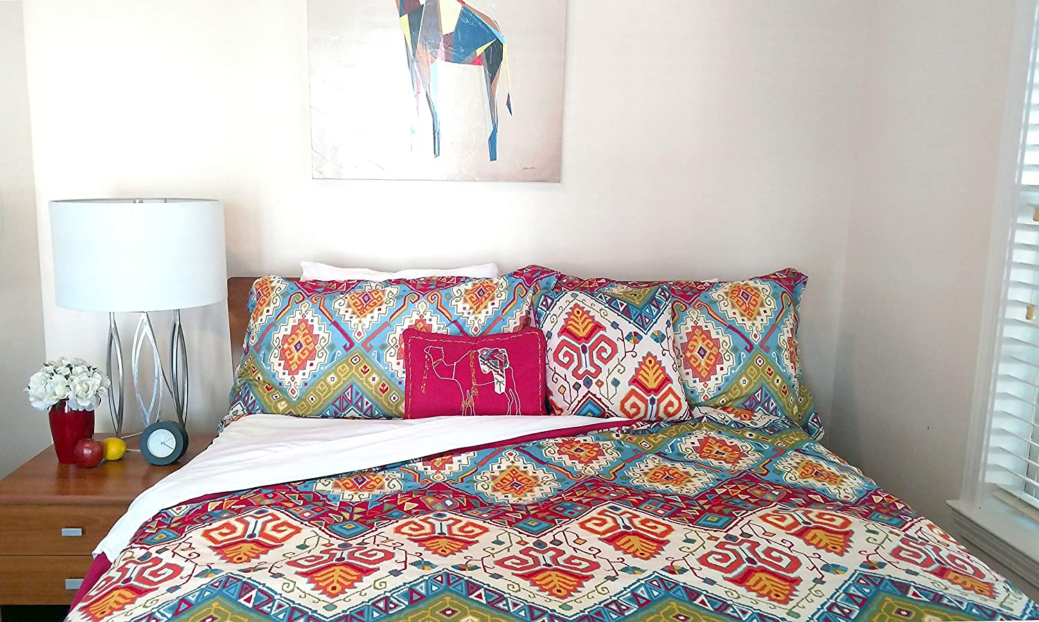 Full//Queen Blue Revman International 218137 Azalea Skye Moroccan Nights Duvet Set